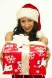 Женщина подарка рождества Стоковое Изображение RF