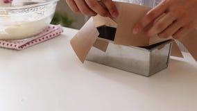Женщина подготавливает поднос выпечки перед печь в печи стоковое изображение