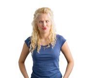 Женщина показывая смешную сторону стоковое изображение