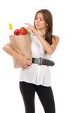 женщина покупкы бакалеи мешка Стоковая Фотография