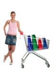 женщина покупкы тележки Стоковое Фото