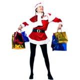 женщина покупкы claus santa рождества Стоковые Фото