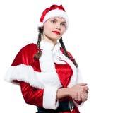 женщина покупкы claus santa рождества Стоковая Фотография