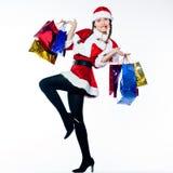 женщина покупкы claus santa рождества Стоковое Изображение