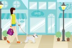 Женщина покупок с ее иллюстрацией собаки иллюстрация штока