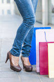 Женщина покупок стоковое изображение rf