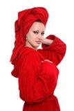 женщина полотенца головки мантии шлихты красная Стоковое Фото