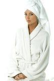 женщина полотенца робы ванны Стоковая Фотография RF