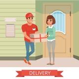 Женщина получая пакет от курьера Характеры людей шаржа Молодой усмехаясь человек одетый в работая форме Доставка иллюстрация штока