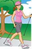 женщина полюса гуляя Бесплатная Иллюстрация