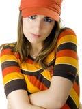 женщина померанца шлема Стоковая Фотография RF