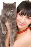 женщина портрета кота Стоковая Фотография