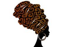Женщина портрета красивая африканская в традиционном тюрбане, обруче головы Kente Ткань грязи Мали Bogolan, этническое изолирован иллюстрация штока