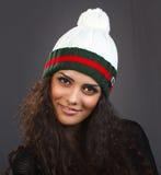 Женщина портрета красивая в шляпе Стоковая Фотография RF