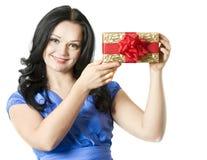 женщина портрета подарка коробки Стоковое Фото