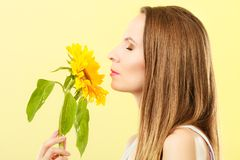 Женщина портрета привлекательная с солнцецветом стоковое изображение rf