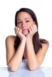 женщина портрета привлекательного брюнет естественная стоковые изображения