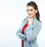 женщина портрета сь На белизне Стоковое фото RF