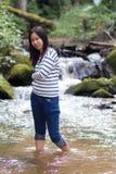 Женщина портрета тайская в реке Стоковые Фото
