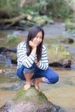 Женщина портрета тайская в реке Стоковое Фото