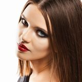женщина портрета чувственная Сторона волосы прямо бобра стоковое изображение