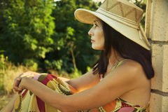 женщина портрета шлема Стоковая Фотография RF