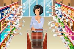 Женщина посещения магазина бакалеи с иллюстрацией много выборов стоковые изображения