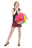 Женщина после увеличения объема покупок Стоковые Фотографии RF