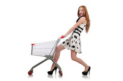Женщина после ходить по магазинам в изолированном супермаркете Стоковые Фотографии RF