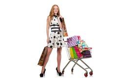 Женщина после ходить по магазинам Стоковые Изображения
