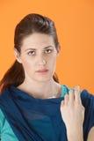 женщина потревожилась Стоковая Фотография