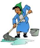 женщина пола mopping Стоковые Фотографии RF