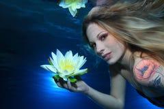 Женщина подводная Стоковое Изображение RF