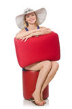Женщина подготавливая на летние каникулы Стоковое Изображение RF
