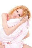 женщина подушки удерживания Стоковое Изображение