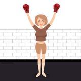 Женщина празднуя выигрыш в конкуренции победителя перчаток бокса нося сильной бесплатная иллюстрация