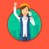 Женщина празднуя успех в бизнесе Стоковое Изображение RF
