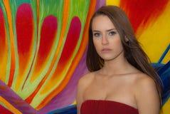 женщина предпосылки цветастая Стоковые Фото