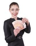 Женщина предлагает деньги Стоковые Фото