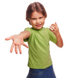 Женщина предназначенная для подростков присягает выражению зла девушки Стоковое Изображение