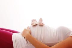 женщина предпосылки супоросая белая Стоковая Фотография RF