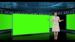 Женщина представляя последние новости акции видеоматериалы