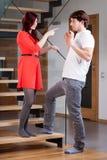 Женщина предупреждая ее партнера Стоковое Изображение