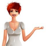 Женщина привлекательной бело-кожи усмехаясь, портрет верхнего тела Colorf бесплатная иллюстрация