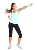 женщина пригодности aerobics указывая стоковые фотографии rf
