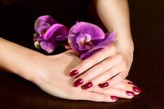 Женщина прикладывая лак для ногтей к ногтям пальца Стоковое фото RF
