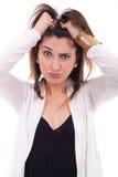 Женщина при волосы стоя на конце Стоковое Фото