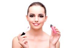 Женщина при губная помада изолированная на белизне стоковые изображения