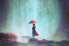 Женщина при зонтик стоя против водопада иллюстрация вектора