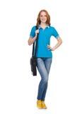 Женщина при изолированный рюкзак Стоковые Изображения RF